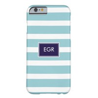 Monogram Stripes iPhone 6 case (Aqua/Navy)