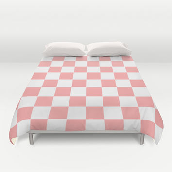Coral Pink Checker Squares Duvet Cover by BeautifulHomes | Society6