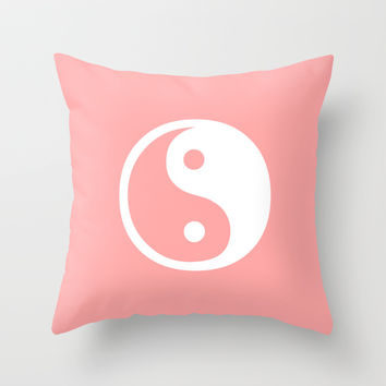 Coral Pink Harmony Yin Yang Throw Pillow by BeautifulHomes