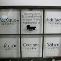 Personalized Vintage Window - Upcycled Crackled Finish - I'll love you Forever with Children's Names
