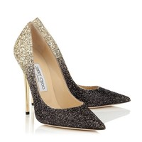 Black and Nude Coarse Degrade Glitter Pointy Toe Pumps   Anouk   Pre Fall 14   JIMMY CHOO Shoes