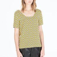 Printed square-necked top