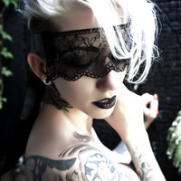 Black lace face mask masquerade headpiece