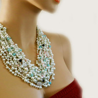 Bridal Chunky Statement Necklace with White Blue Black Pearls and Crystal Rhinestone Wedding Jewelry