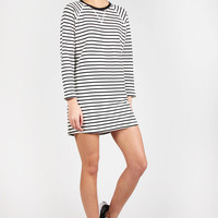 Night Call Dress - ivory/black stripe
