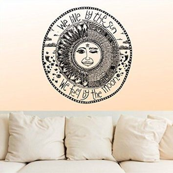 Wall Decal Vinyl Sticker Decals Decor Design We Live by the sun We feel by the moon Stars Qoute…