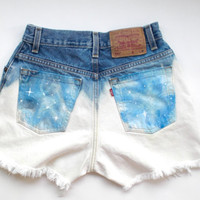 Blue Galaxy Ombre Cut-off Levi Shorts