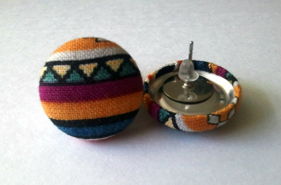 Triangle striped tribal button earrings