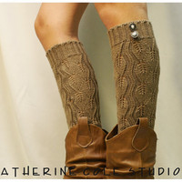leg warmers Open crochet knit / womens leaf knit pattern  great with cowboy boots by Catherine Cole Studio legwarmers open work