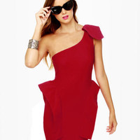 Sexy One Shoulder Dress - Red Dress - Peplum Dress - $41.00