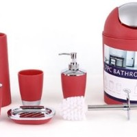 6-Piece Bathroom Accessory Set - Trendy Plastic Red Silver