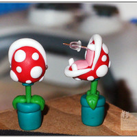1 Pair Of Cute Unique super  Mario Piranha Earrings Studs