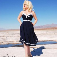 The Vintage Inspired Sailor Swing Dress in Navy with White Trim