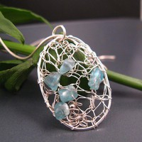 Oval wire crochet pendant with Apetite gemstones, crocheted jewelry