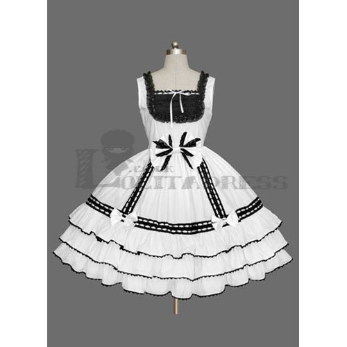 Affordable Sleeveless Square Collar Bowknot Multi-Layer Cotton Black and White Sweet Lolita Dress [TQL120507127] - £54.59