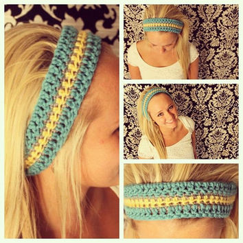 CROCHET headband/dreadband/headwrap in SUNNY DAY colors