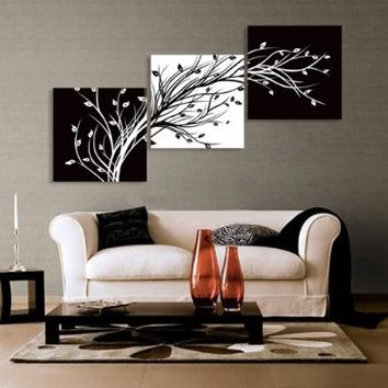 Abstract the black and white flowers decorative painting plum is the wind canvas modern art of three pieces:Amazon:Office Products