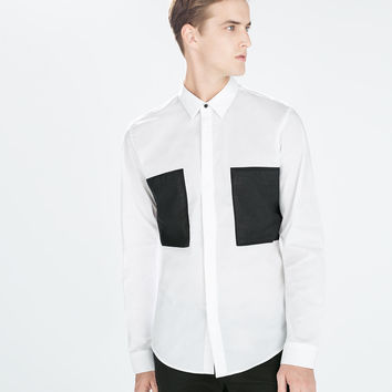 Shirt with square patches