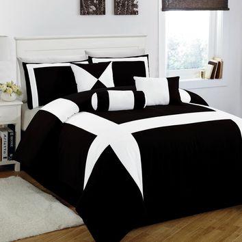 11 Piece King Jefferson Black and White Bed in a Bag w/600TC Cotton Sheet Set:Amazon:Home &…