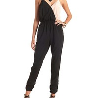 SURPLICE COLOR BLOCK JUMPSUIT