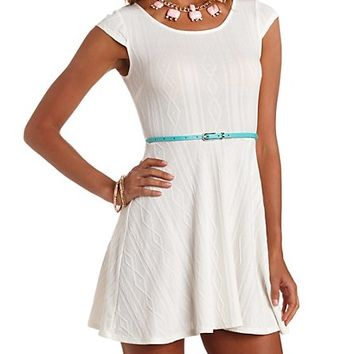 CABLE KNIT CAP SLEEVE BELTED SKATER DRESS