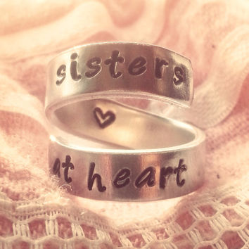 sisters at heart  aluminum spiral ring