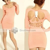 Krazy Women Cotton Skull Long Sleeve Dresses - DinoDirect.com