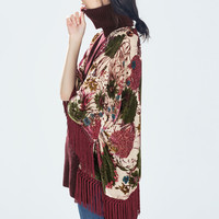 FRINGED DEVORÉ KAFTAN