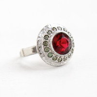 Vintage Art Deco Red & Clear Rhinestone Cluster Ring - Antique Adjustable 1930s 1940s Sterling Silver Etched Jewelry