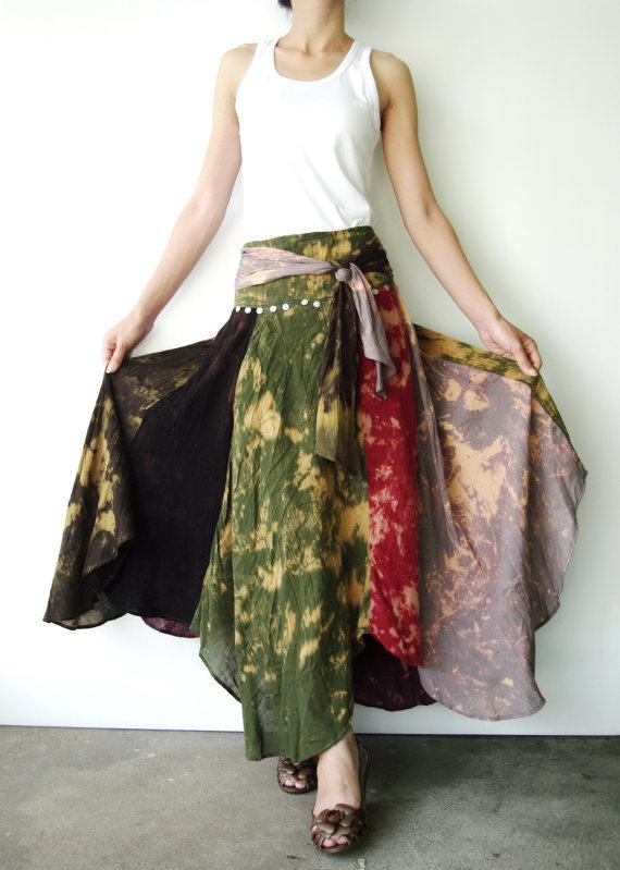 NO.21  Black-Grey-Army-Maroon-Burgundy-Dark Blue Cotton, Asymmetric Skirt-Dress