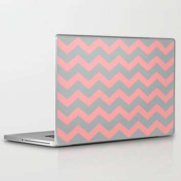 Chevron Gray Coral Pink Laptop & iPad Skin by BeautifulHomes | Society6