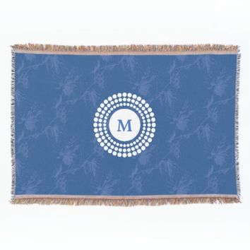 Vintage Grapevine Blue Monogram Throw Blanket
