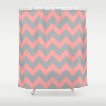Chevron Gray Coral Pink Shower Curtain by BeautifulHomes | Society6