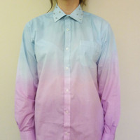 Spike Studded Collar Shirt Dip Tye Dyed Oversized Grunge  Ladies Mens Blouse Vintage Top.