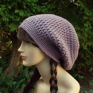 Gray Violet Slouch Beanie - Womens Slouchy Crochet Hat - Oversized Slouchy Beanie - Chunky Hat - Baggy Beanie - Winter Slouchy Hat