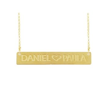 14K Gold Engraved/Brushed Bar Necklace: Personalized Boutique, Inc.