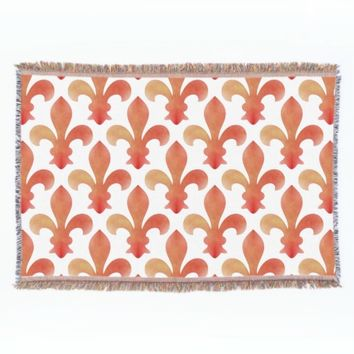 Red Gold Fleur de Lis Throw Blanket