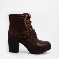 New Look Cookie Red Lace Up Boots at asos.com