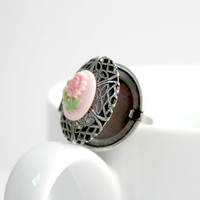 Silver and Pink Rose Flower Locket Ring - Feminine Shabby Romantic Jewelry - Ready to Ship