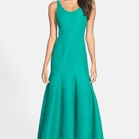 Halston Heritage Scoop Neck Faille Gown