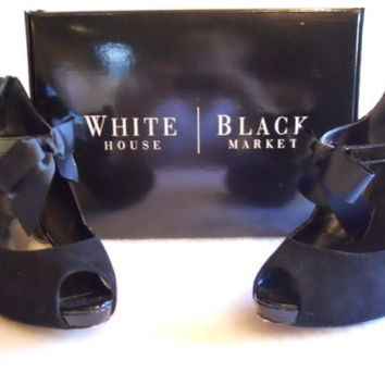 Black WHMB Regan Style Open Toe Size 7 Leather Pumps w/ Tie Bows and Zipper Heel