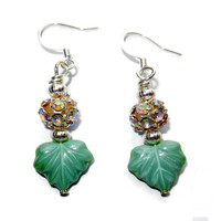 Green Leaf Dangle Earrings with Crystal Clusters