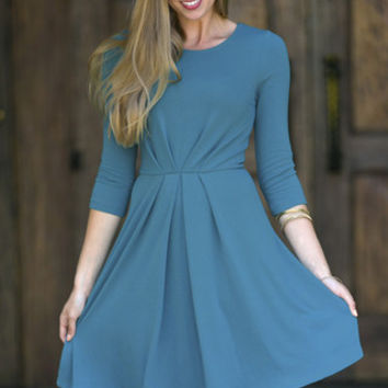 Teal Veronica Pleated Dress