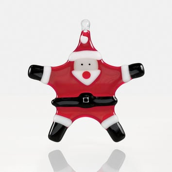 Star Santa by Glassworks Northwest (Art Glass Ornament) | Artful Home