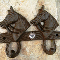 Cast Iron Double Wall Hook, Rustic Home Decor, Horse Head Country Western Decor, Animal Hook, Girls Horse Decor,  Key Hook, Towel Hook