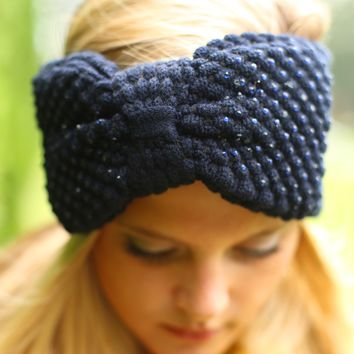 Bow on Top Headwrap in Navy