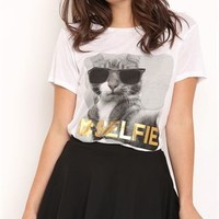 Drapey High Low Tee Shirt with Selfie Cat Screen