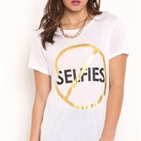 Rayon short sleeve drapey tee with crossed out selfie screen with gold foil