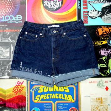 High Waisted Denim Shorts - 90s Dark Wash Blue Jean Shorts - Frayed, Cuffed, Rolled Up Tommy Hilfiger Shorts Size 8 10 Medium M