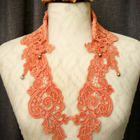 lace collar necklace -LOUISA- (ombre tangerine)